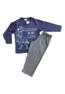 Pijama Manga Longa Bebê Masculino Lua Encantada 0426 Azul Marinho