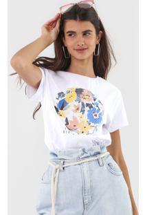 Camiseta Fiveblu Flores Branca - Branco - Feminino - Algodã£O - Dafiti