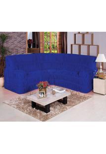 Capa De Sofá De Canto Dodigo Tecido Malha Gel 01 Peça Azul Borda Bordados Enxovais