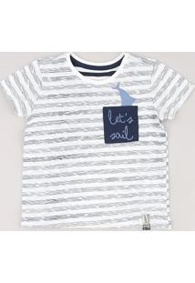 Camiseta Infantil Listrada Com Bolso Tubarão Manga Curta Off White