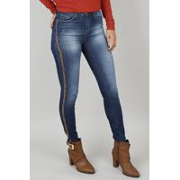 48bc66b2e Calça Jeans Feminina Skinny Animal Print Azul Escuro