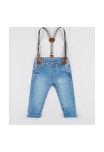 Calça Jeans Infantil Skinny Com Suspensório Azul Claro