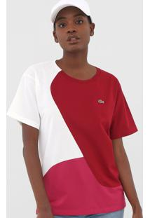 Camiseta Lacoste Logo Off-White/Vinho - Off White - Feminino - Algodã£O - Dafiti