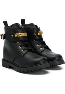 Moschino Kids Ankle Boot Com Cadarço - Preto