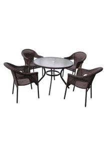 Conjunto De Mesa E Cadeiras Para Jardim Mor 9140 Atacama Rattan