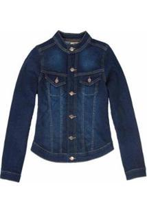 Jaqueta Jeans Moletom Stone Stone Feminina - Feminino-Azul