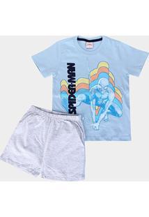 Pijama Infantil Evanilda Homem Aranha Masculino - Masculino-Azul Claro