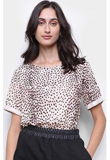 Camiseta Lança Perfume Onça Feminina - Feminino-Bege+Marrom