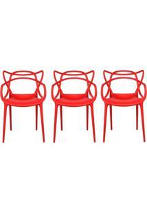 Kit 3 Cadeiras Cozinha Design Allegra Vermelha