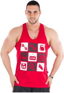 Camiseta Regata Cavada Império Fitness Gym Vermelho