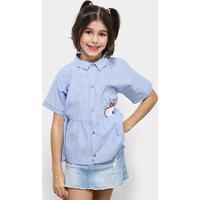 165d4c118 Camisa Infantil Lilica Ripilica Listrado Feminina - Feminino-Azul