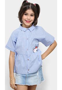 6b74c8bc99 Camisa Infantil Lilica Ripilica Listrado Feminina - Feminino-Azul