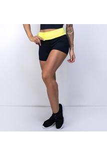 Short Honey Be Fitness Dual Colors Feminino - Feminino-Preto