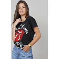 a3d07ead6 Blusa Feminina The Rolling Stones Com Tachas Manga Curta Preta