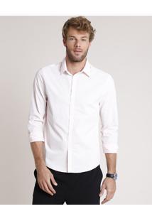 Camisa Social Masculina Tradicional Estampada Geométrica Manga Longa Rosa Claro
