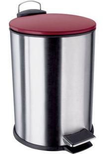 Lixeira Inox Com Pedal- Inox & Vermelho- 3L- Eureuro Homeware