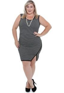 Vestido Feminino Listrado Plus Size Marisa