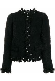 Dolce & Gabbana Jaqueta Cropped Com Babados - Preto