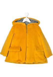 Owa Yurika Sobretudo Com Capuz E Pelos - Amarelo