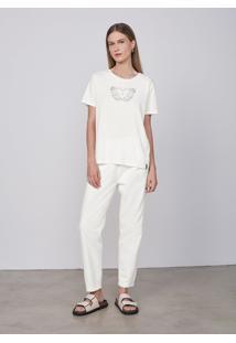 Camiseta Manga Curta Feminina Com Silk Local - Off White
