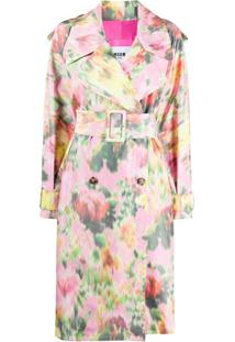 Msgm Oversized Floral Print Double-Breasted Coat - Rosa