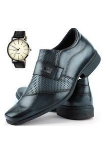 Sapato Social Perfuros Com Metal Dhl Masculino Cinza + Relógio