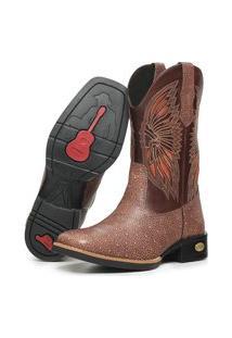 Bota Texana Country Click Calcados Cano Longo Em Couro Bordado Cacique