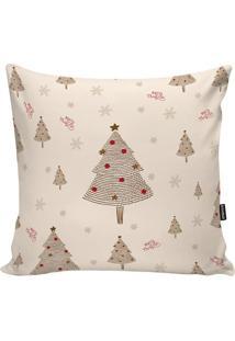 Capa Para Almofada ÁRvores De Natal- Off White & Marrom