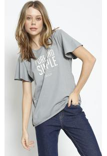 "Camiseta ""Pure And Simple"" - Cinza & Off White - Colcolcci"