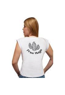 Camiseta Casual 100% Algodão Estampa Free Hugs Avalon Cf01 Branca