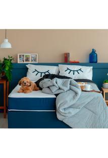 Cama Box Click Queen Com Colchão Firme E Travesseiro Guldi Macio (39X158X198) Azul