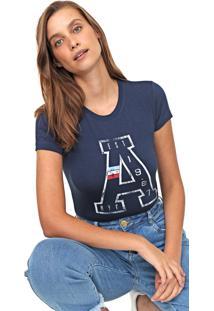 Camiseta Aeropostale Estampada Azul-Marinho