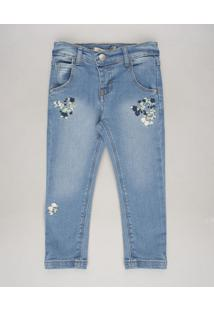 Calça Jeans Infantil Skinny Com Bolsos E Bordados Azul Médio