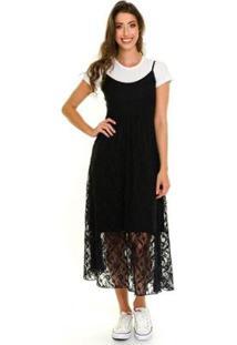 Vestido Alcinha Midi Renda Com Sobreposição Jogabe Feminino - Feminino-Preto