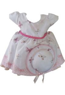Vestido Infantil Estampa De Borboleta Com Chapéu