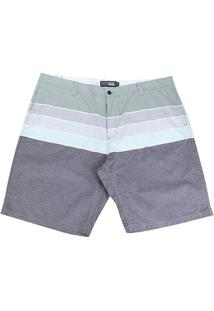 Bermuda Gajang Estampada Plus Size Masculina - Masculino-Verde