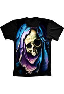 Camiseta Baby Look Lu Geek Aveira Skull Preto - Tricae