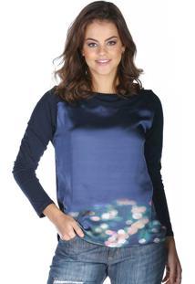 8bcd4ed9d1 Blusa Com Frente Em Cetim Sob Estampada Rebecca Nigthsky Azul-Marinho