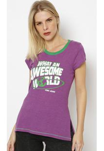 "Camiseta ""What Na Awesome World"" - Roxa & Verde - Cococa-Cola"