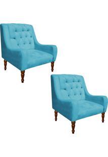 Kit 02 Poltrona Decorativa Maia Suede Azul Tiffany - D'Rossi