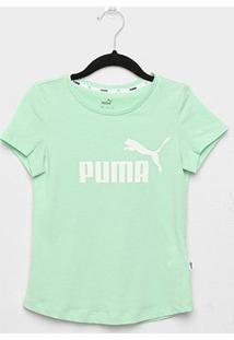 Camiseta Infantil Puma Ess G Manga Curta Feminina - Feminino-Verde Água