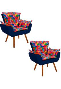 Kit 02 Poltrona Decorativa Opala Suede Composê Estampado Romero Britto D15 E Suede Azul Marinho - D'Rossi