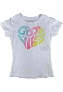 Camiseta Infantil Mini Us Good Vibes Feminina - Feminino-Branco