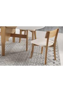 Cadeira Jantar De Madeira Boni Ripada - Verniz Amendoa - Tec.156B Off White - 42X49X82 Cm