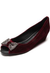 Peep Toe Dafiti Shoes Veludo Laço Vinho