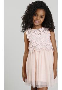 Vestido Infantil Em Tule Com Bordado Floral Rosa