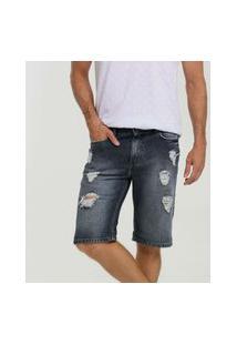 Bermuda Masculina Jeans Destroyed Bolsos Mr
