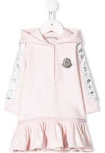 Moncler Kids Vestido Com Logo Bordado E Capuz - Rosa