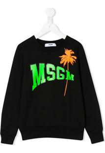 Msgm Kids Camiseta Com Estampa De Logo - Preto