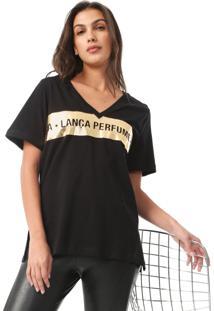 Camiseta Lança Perfume Metalizada Preta